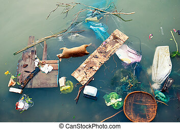 Water pollution with plastic garbage and dirty trash waste...