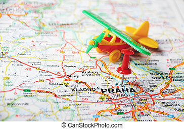 Prague, Czech Republic map airport - Close up of Prague,...