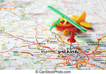 Prague, Czech Republic map airport - Close up of Prague,...