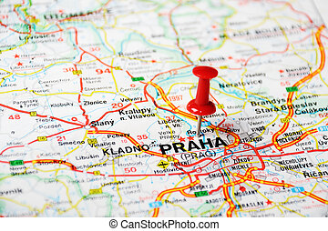 Prague, Czech Republic map - Close up of Prague, Czech...