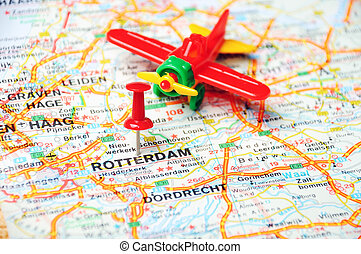Rotterdam,Holland map airplane - Close up of Rotterdam ,...