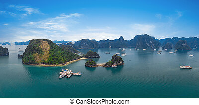 Panorama of Halong Bay Vietnam. Panoramic view of Ha Long...