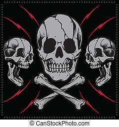 Skulls and bone cross - Skulls Old school Tattoo Style