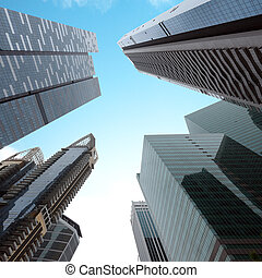 Urban modern business buildings perspective view. Singapore...
