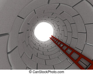 Climb to the top - 3D render of a ladder leading up from a...