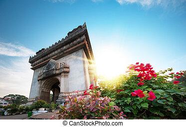 Laos, Vientiane - Patuxai Arch monument. Famous travel...