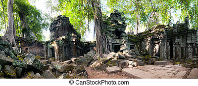 Angkor Wat Cambodia. Ta Prom Khmer ancient Buddhist temple...
