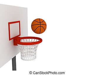 Ball in basket - Basketball ball in basket. Isolated on...