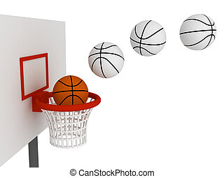 Ball in basket - Basketball ball in basket Isolated on white...