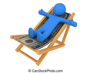 Person on chaise Longue - Chaise longue made of money...