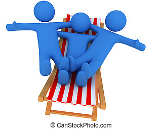 Persons on chaise Longue - 3d render of persons on chaise...