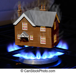 hot property - property market is heating up, a house is hot...