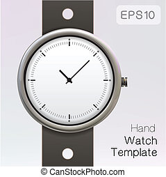 Wrist watch template - Silver watch on black strap Eps 10...