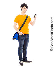 young student watching a smart phone with white background