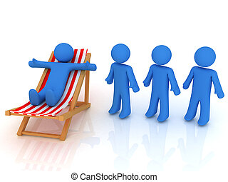 Queue - 3d render of person on chaise longue and persons...
