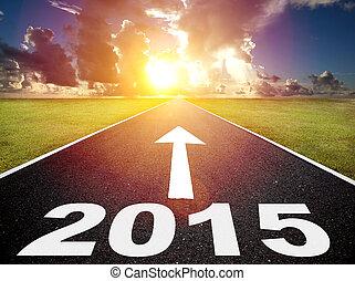 wschód słońca, tło, rok,  2015, nowy, Droga
