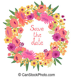 Vintage card with floral wreath. Save the date. Wedding...