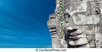 Angkor Wat Cambodia. Bayon temple in Angkor Thom historical...