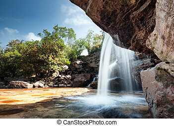 Waterfall landscape panorama. Outdoor hdri photography -...