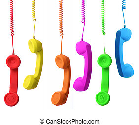 multiple contacts - range of colour phone concept of...