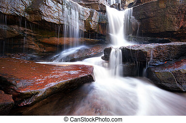 Mountain river waterfall, rocks and clean water. Nature...