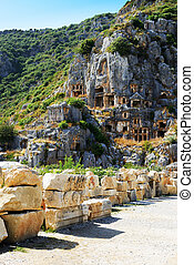 The rock-cut tombs in Myra, Antalya, Turkey