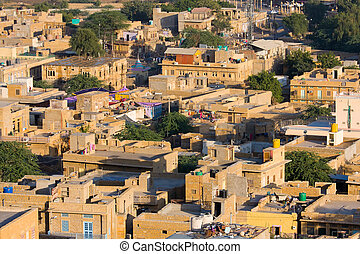 Jaisalmer, Rajasthan, India - City view of Jaisalmer,...