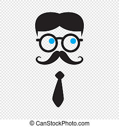 geek cartoon character avatar vector graphic art...