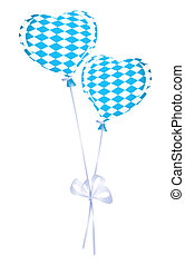 Two heart balloons in bavarian colors