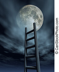luna - ladder to the moon - 3d illustration