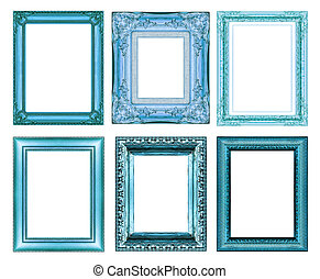 set of vintage blue frame with blank space