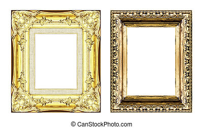 set of vintage golden frame with blank space isolated on...