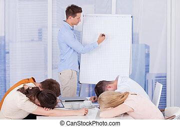 colegas, obteniendo, aburrido, Durante, empresa / negocio,...