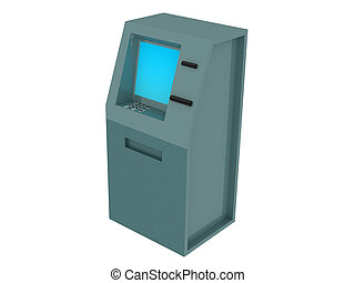 ATM - 3d render of atm machine Isolated on white background...