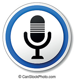 Vector microphone icon - Vector illustration of blue and...