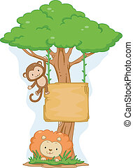 Monkey and Lion Hanging Board
