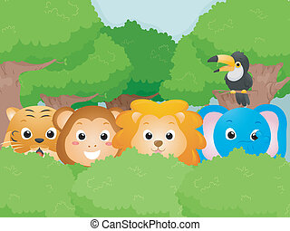 Safari Animals - Illustration Featuring Cute Safari Animals
