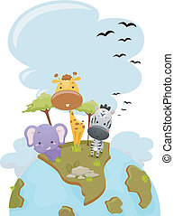 Safari Animals Earth - Illustration Featuring Cute Safari...