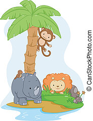 Safari Animals on an Island - Illustration Featuring Cute...