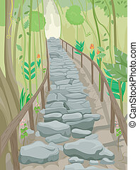 Forest Stairs Trail - Illustration of a Flight of Stone...