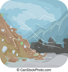 Landslide - Illustration Featuring a Combination of Mud and...