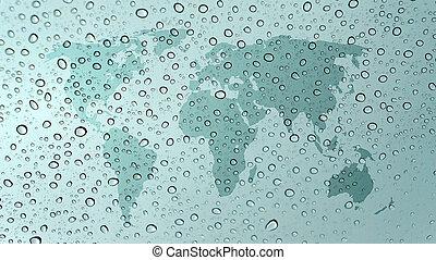 mundo, mapa, vidro, água, gotas