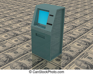ATM - 3d render of atm machine on money