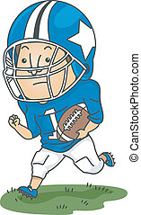 Football Player - Illustration of a Football Player Running...