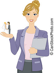 Wedding Planner - Illustration of a Wedding Planner Holding...