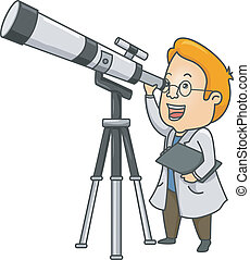 Telescope Man - Illustration of a Researcher Using a Long...