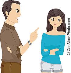 Father Scolding Daughter - Illustration of a Father Scolding...
