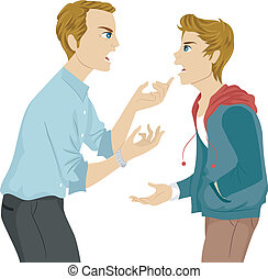 Father and Son Argument - Illustration of a Father and Son...