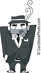 Mafia Man Cigar - Illustration of a Mafia Man Smoking a...