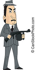Mafia Man Machine Gun - Illustration of a Mafia Member...
